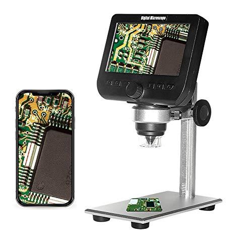 1000X LCD digitalt mikroskop, Bysameyee Wifi trådlös 4,3 tum 1080P bärbar förstoringsglas zoomkamera med 8 LED-lampor uppladdningsbart batteri för mynt samling reparerar lödning