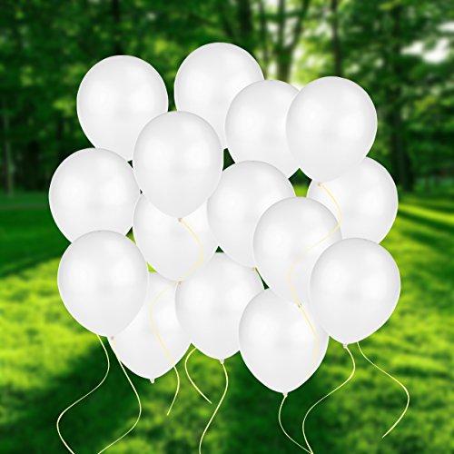 NUOLUX 100 Luftballons Ballons Perlen Weiß Qualitätsballons 30cm Ballons für Party Geburtstag Feiertag Hochzeit Weihnachten Karneval