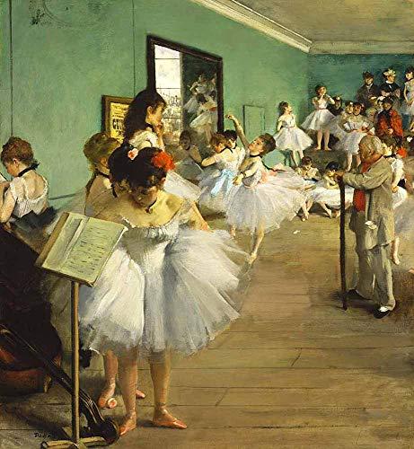 Edgar Degas - La Clase Ii Danza Reproducción Cuadro sobre Lienzo Enrollado 80X90 cm - Bailarines Pinturas Impresións Decoración Muro