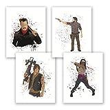 Walking Dead Poster - Set of 4 Posters - Watercolor Home Decor - Rick Grimes Negan Daryl Dixon Michonne - Bedroom Art Print - Gift for Friends (Set, 8x10)