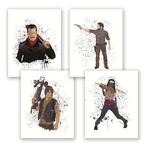 Póster de Walking Dead, juego de 4 pósteres, acuarela, decoración del hogar, Rick Grimes Negan Daryl Dixon Michonne, impresión artística para recámara, regalo para amigos, Set, 20.32 x 25.4 cm (8x10 pulg.)