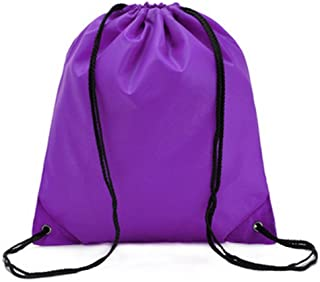 Bullidea Drawstring Bag Waterproof Solid Color Shoulder Backbag Gym Folding Bag for School Travel Or Sport(Purple)