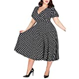 LOPILY Abendkleid für Mollige Vintage 50er Jahre Festlich Kleid Große Größen Gepunktes Wickelkleid Partykleid Retro Cocktailkleid Rockabilly Ballkleid mit Punkte Midikleid Übergrößen (Schwarz, 50)
