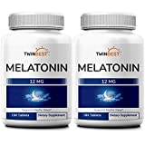 Twinbest Melatonin 12mg Tablet, 2-Pack, 360 Tablets Supply, Supports Restful Sleep, No Gluten, No GMO