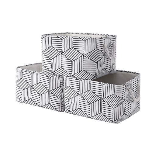 pulnimus Fabric Storage Baskets [3 Pack] Decorative Basket Storage Basket for Organizing Cloth Baskets with Handles Cloth Baskets for Storage,Canvas Basket,Baskets Storage for Organizing Toys