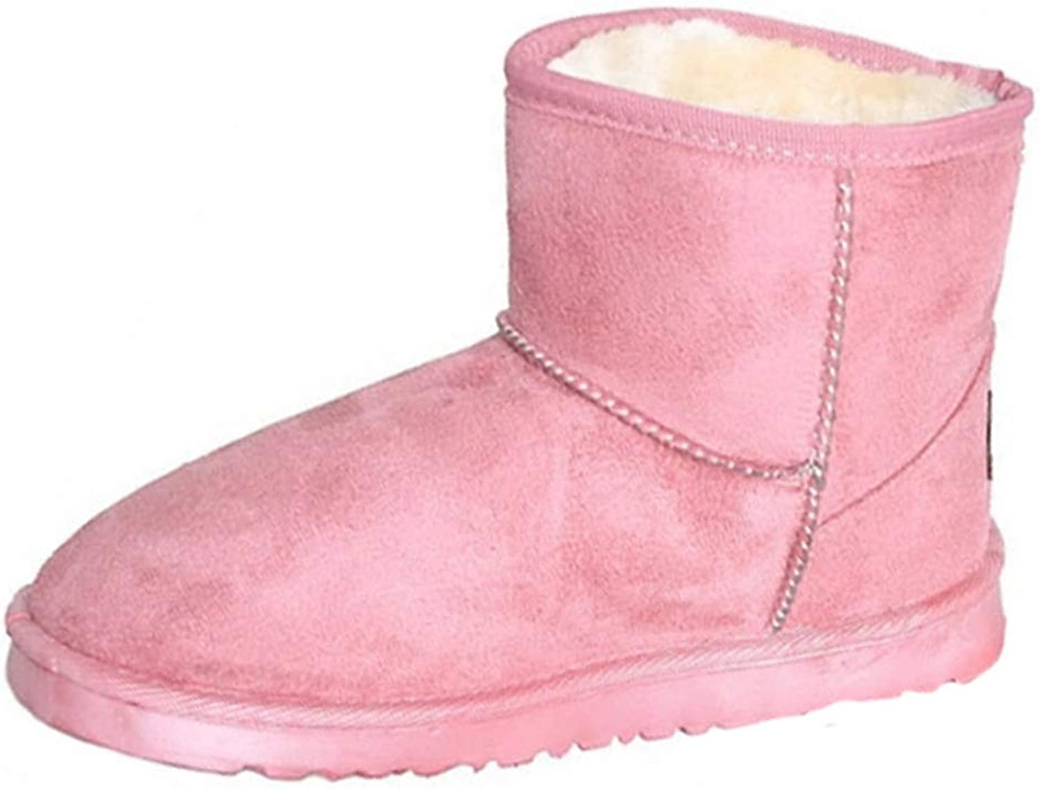 Women's Faux Suede Winter Warm Plush Lined Ankle Booties Slip On Platform Snow Boot