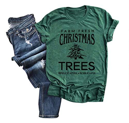 Women Farm Fresh Christmas Trees T-Shirt Funny Letter Print Christmas Tee Tops (A-Green2, XL)