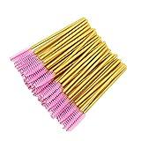 MyAoKuE-UP 300 Pack Disposable Mascara Wands Bulk Eyelash Extension Brush Lash Wand Applicator, Gold/Pink
