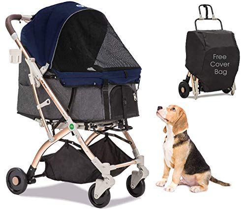 HPZ Pet Rover Lite Travel Stroller for Small & Medium Dogs, Cats & Pets (Midnight Blue)