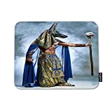 HOSNYE Ancient Egyptian Pharaoh Mouse Pad Square Anti-Slip Rubber Mousepad Mask of Anubis on His Face on Blue Background Edges for Gaming Office Laptop Computer PC Men Women Kids