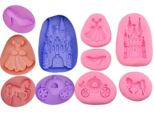 5 PC Miniature Princess Set Silicon Molds from Bakell