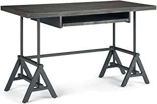 Simpli Home Sklar SOLID MANGO WOOD and Metal Modern Industrial 52 inch Wide Home Office Desk, Writing Table, Workstation, Study Table Furniture in Distressed Dark Brown