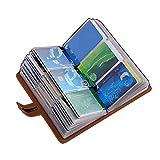 カードケース クレジットカードケース カードホルダー 大容量 薄型 革 レザー 磁気防止 スキミング防止【96枚収納】 (ブラウン)