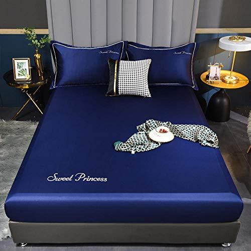 FJMLAY Sábana Bajera clásica,Sábana Bajera de Seda de Lujo, Protector de colchón Antideslizante para Dormitorio Apartment-Blue_4_120cmx200cm
