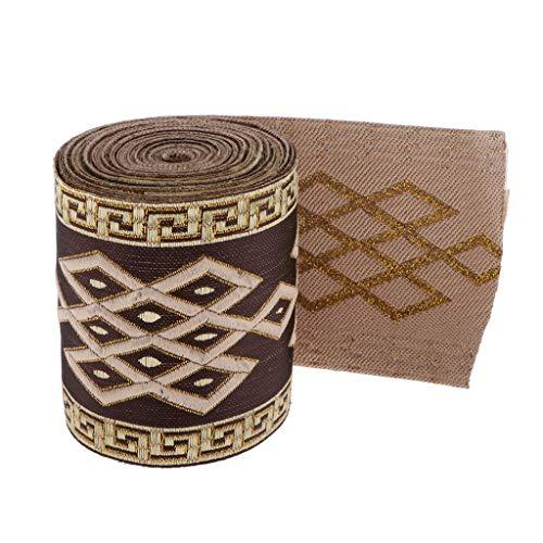 Sharplace 5.5 Yardas Étnico Cinta de Jacquard Tela de Bordada para Decoración de Prendas/Pantalones/Abrigos - 8cm