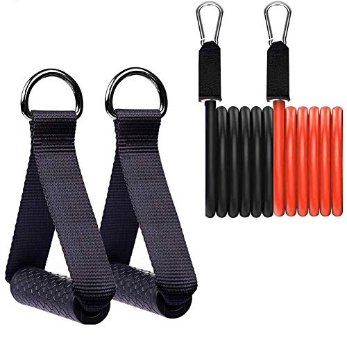 Heatigo 2 Einhandgriffe Und 2 Widerstandsbänder, Silikongriff Mit Massivem ABS-Kern, Für Fitnessband-Extender Mit Trizeps-Trainingsseil, Yoga-Stretchband