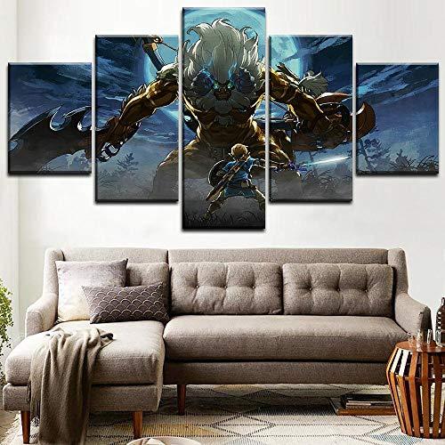 Leinwanddrucke,5 Stück Anime-Spiel The Legend of Zelda Leinwand Malerei Modulare Poster Bildkunst Moderne Wohnwanddekoration (Kein Rahmen) Größe L