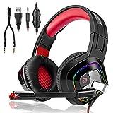 3I Dn. Casque Gaming PS4,Casque PC Mac Phone Ultra-Léger Stéréo Lumière Stéréo Bass Anti-Bruit LED Audio...