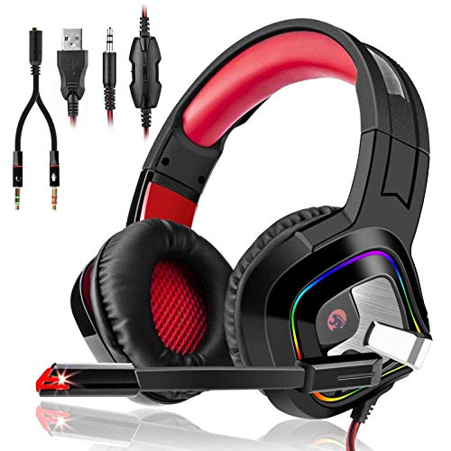 3I Dn. Auriculares Gaming Estéreo Cascos Gaming Adjustables con LED y Micrófono Omnidireccional Reduccón de Ruido para PC, PS4, Nintendo Switch,Tableta y Móvil Color Rojo