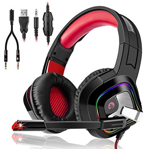 3I Dn. Casque Gaming PS4,Casque PC Mac Phone Ultra-Léger Stéréo Lumière Stéréo Bass Anti-Bruit LED Audio 7.1 Stéréo Anti Bruit Léger lumière avec 3.5mm Connecteur Compatible(Rouge)