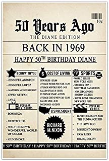 50th Birthday Newspaper Born in 1969 Stats Poster