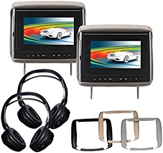 Concept BSD-705PKG1 Backseat Car Entertainment Package with 2 Headrest-Mounted DVD Players and 2 Wireless Headphones Sets....