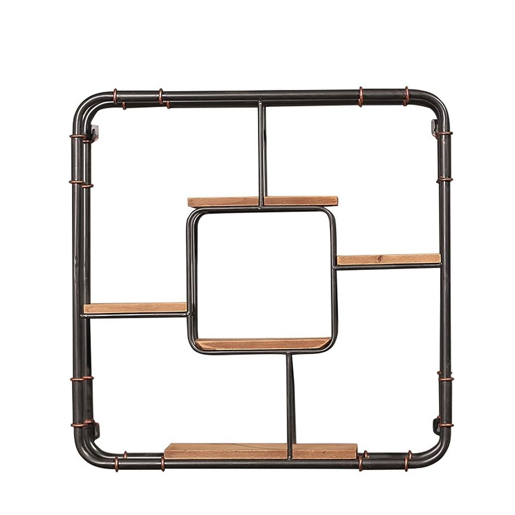 性格回る過度に壁掛けシェルフ 鉄と木のテレビの壁の壁の装飾/壁の棚/壁のスタンドホームオフィス/ロフトのためのストレージディスプレイラック壁掛けのclapboard本棚ユニットフラワーラック(5層 - 62 * 62 * 15センチメートル)