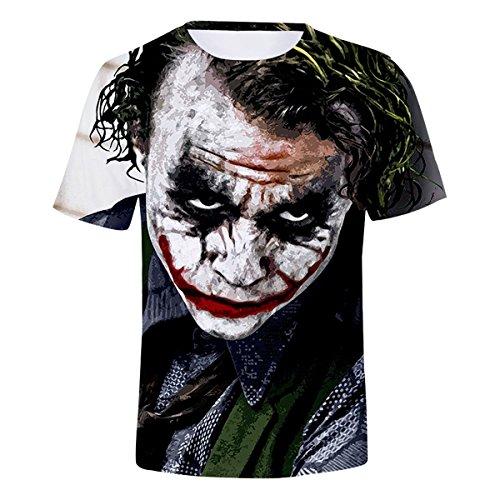 CTOOO 2018 Sommer 3D Druck Clown Joker Herren T-Shirt Kurzarm Schwarz Loose Fit XXS-XXXXL
