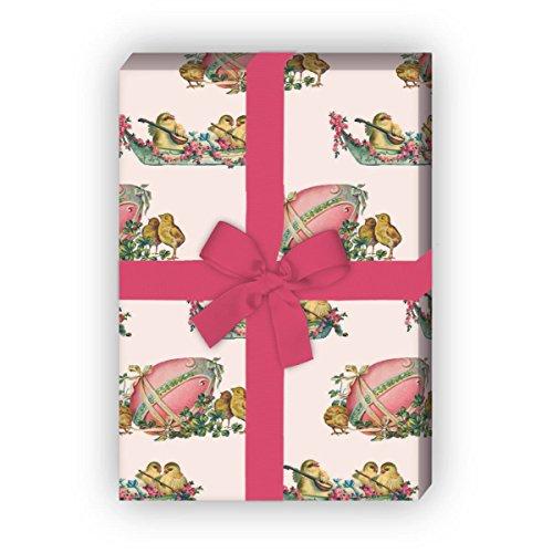 Kartenkaufrausch Süßes Vintage Oster Geschenkpapier Set mit Retro Küken für liebe Geschenkverpackung, DIY Projekte, Basteln, 4 Bogen, 32 x 48cm, rosa