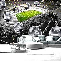 Iusasdz モダンクリエイティブ3Dサッカーフィールドボール壁画壁紙リビングルームソファ背景壁布防水家の装飾壁装材-150X120Cm