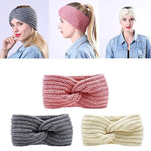 Ealicere 3 Stück Winter Gestrickt Stirnband, Elastisches Haarbänder, Bow Turban Headwrap, Haarreife Ohr Wärmer, für Damen Mädchen Frauen