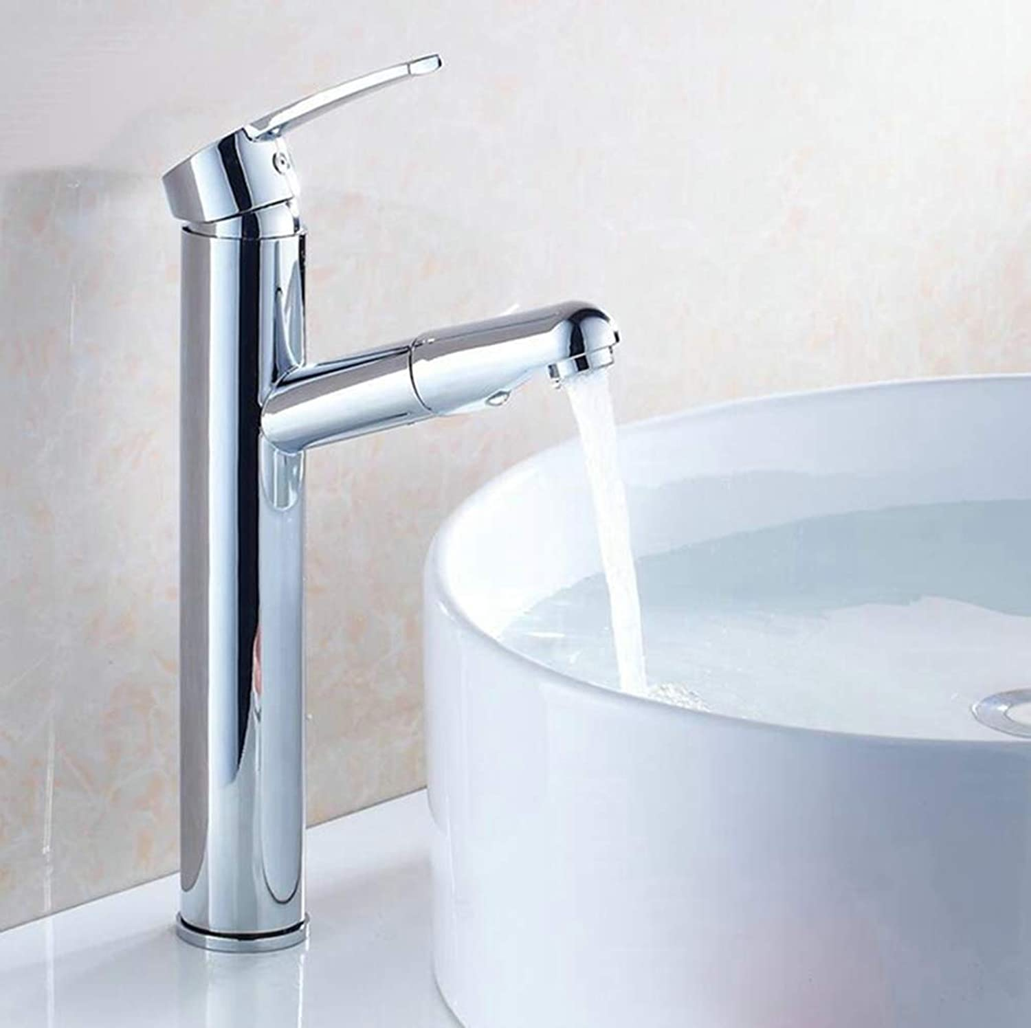 FZHLR Tall Deck Mounted Chrome Polished Finish Pull Out Kitchen & Bathroom Faucet Basin Mixer Tap