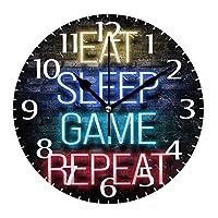 10インチの丸い壁掛け時計、壁の装飾は睡眠とゲームを食べるサイレント非カチカチ音をたてる時計、リビングルームのホームオフィス用の電池式の読みやすい時計