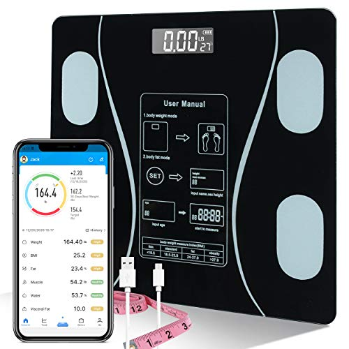 Bluetooth Smart Body Fat Scale, BMI Bathroom Scale, USB Rechargeable Wireless Digital Weight Scale Tracks 12 Key Body Fitness Compositions Health Analyzer with Smartphone App; Fitbit Compatible
