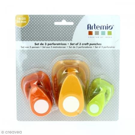 Artemio 10003088 - Juego de 3 perforadoras metálicas, Multicolor, 19 x 6 x 16 cm