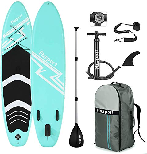 affodable Premium inflatable paddle board with durable SUP accessories and carrying bag (6 inch thick) | Wide stand, surf control, non-slip deck, leash, paddle, pump, stand boat for young and adults