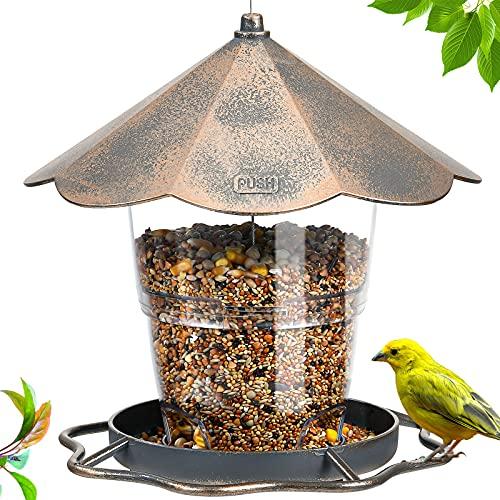 Hanizi Bird Feeders for Outside, Bird feeder, Wild Bird seed for Outside Feeders, Squirrel Proof Birds Feeder and Garden Decoration Yard for Bird Watchers (Gold)