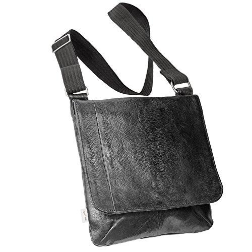 Umhängetasche Größe M Handtasche aus Nappa-Leder mit gepolstertem Tablet-Fach, für Damen und Herren, Schwarz, Jahn-Tasche 428