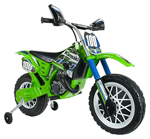 INJUSA - Moto de Cross Kawasaki a batería 6V para niños de 3 años con Freno eléctrico y Acelerador en la empuñadura (6775)