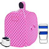 SEAAN Portable Personal Home Steam Sauna Tent 2.6L Steamer for 2 Person Weight Loss Detox Sauna Full Body W/Remote Control,10-60 Minute, 9 Temperature Levels,Chair