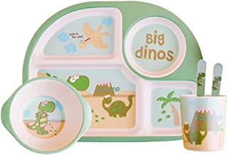 ZAD HOME طبق من ألياف الخيزران، تصميم كرتوني أدوات مائدة طعام صحية للأطفال، مجموعة من 5 قطع (ZH-1206-G)