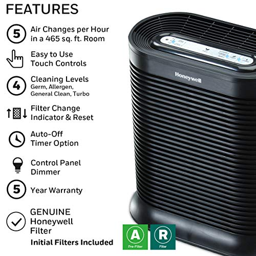 Honeywell HPA300 True HEPA Air Purifier, Extra-Large Room, Black