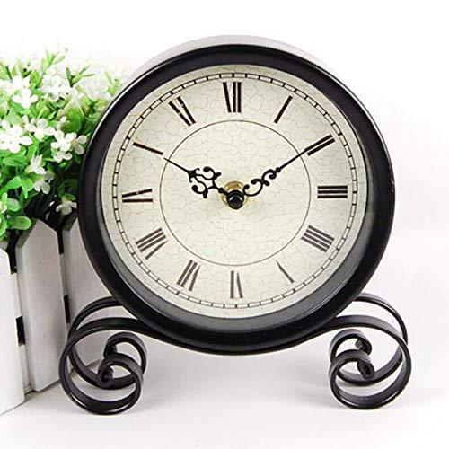 L.J.JZDY wandklok Retro ronde kleine klokken creatieve klok kunst zwart klassieke decoratie 18.5 * 15cm