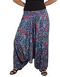 Coline 3 en 1 Pantalones de harén Ligeros Hippie Harén Holgado Boho Pantalón Pantalones de Yoga (Azul, Talla única)