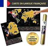 Global Walkabout FRANÇAISE - A2 Carte à gratter avec des drapeaux en arrière-plan - Affiche de...