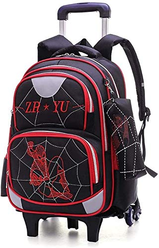 Children's Trolley Bag Elementary Trolley Backpack- Children School Rolling Bag Primary Wheeled Book Trolley Bag Backpack Jialele (Color : Black, Size : 2 Wheels)