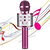 Karaoke Microphones for Kids Wireless Bluetooth Microphone, Portable Handheld Toy Karaoke Mic Speaker Machine, Home KTV Player with Record Function, Compatible with Android iOS Devices(Pink)