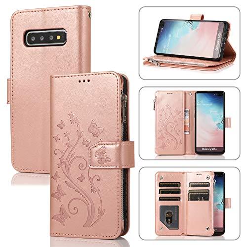 UEEBAI Handyhülle für Samsung Galaxy S10, PU Leder Flip Hülle 3D Reliefprägung Butterfly Retro Reißverschluss TPU Klapphülle Kartenfach Standfunktion Geldbörse mit Handschlaufe - Rose Gold
