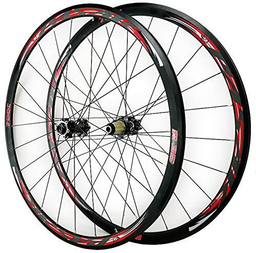 ZFF 700C Disc Brake Road Bike Wheelset Thru Axle Mountain Bike Front + Rear Wheel Cyclocross Road V/C Brake 7/8/9/10/11/12 Speed (Color : Red)