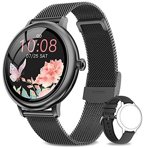 NAIXUES Smartwatch Mujer, Reloj Inteligente Impermeable 67, Monitor de Sueño y Caloría Pulsómetro, 7 Modos de Deportes, Notificaciones Inteligentes, Reloj Deportivo Mujer para Android iOS (Negro)